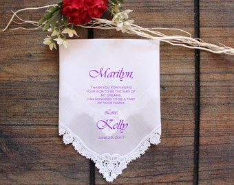 Mother of the Groom Handkerchief, custom PRINTED wedding handkerchief, Your Son is the man of my dreams, Personalized. LS11FViCop[30]