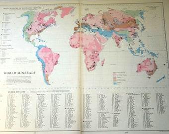 Antique Map Germany Ruhr Basin insert german regions atlas