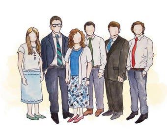 Custom Watercolor Family Portrait Illustration: Family (3-6 People)