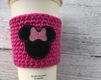 Mouse Cup Cozy, Crochet Coffee Cozy, Coffee Sleeve, Drink Sleeve, Teacher Gift, Gift under 10, Party Favor, gift for her