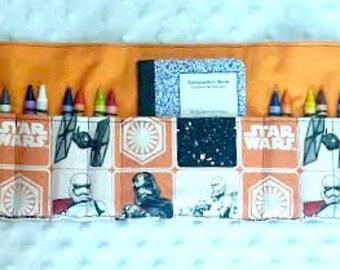 Crayon Roll in Star Wars in Black and Orange , Kid's Birthday Gift, Star Wars Crayon Roll, Crayon Holder, Crayon Wallet, Crayon Organizer