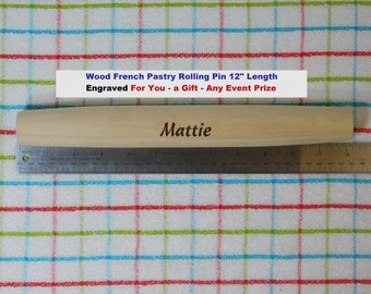 """Baker Rolling Pin Wood French Pastry Personalized Engraved Name Nona Nonna Mom Gift Baking Tortillas Pizza Pie Gift Kitchen Utensil 12"""" Long"""