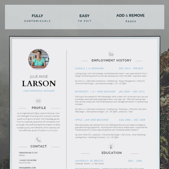 Resume template cv template cover letter application resume template cv template cover letter application advice ms word resume design cv design instant download belgravia yelopaper Choice Image