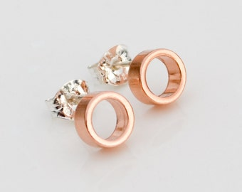 Rose Gold Circle Studs - Tiny Geometric Second Hole Earrings - Everyday Open Circle Rose Gold Stud Earrings - Lightweight Pink Gold Circles
