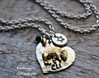 Colorado Buffalo Necklace, University of Colorado, Colorado Buffs, Buffalo Jewelry, Buffalo Mascot