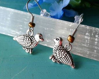 Quail Earrings Bird Earrings