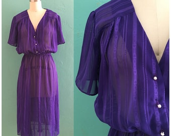 vintage 70's purple sheer shirt dress
