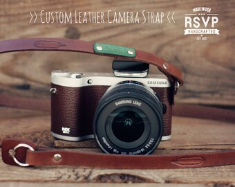 Custom Leather Camera Strap, Handmade personalized gift, Brown stain, Tribal, hipster feather, mirrorless, Custom text name initials