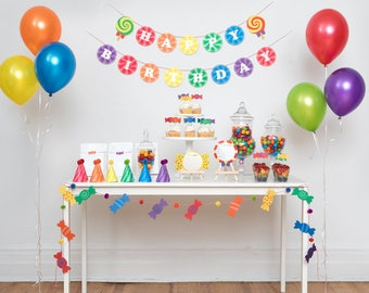 Sweet Rainbow - 24 Guest Complete Party Set Party Package | Birthday Party Decoration | Banner, Garland, Cupcake Topper, Party hat, Cards