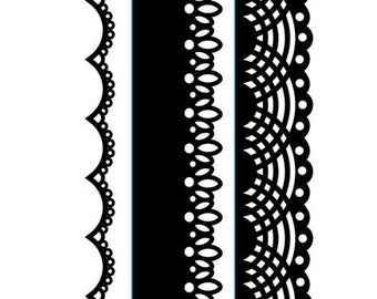 Lace Themed Border Embossing Folder 3 pack