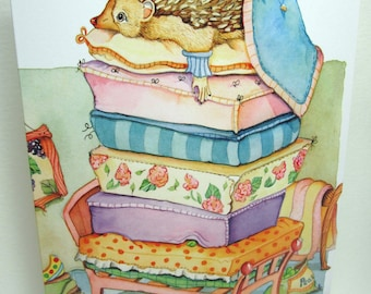 Hedge hog, Princess and the pea greeting card design, hedgie  5x7 card art fairytale art