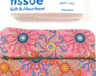 Tissue Case - Multi Colored Swirls on Hot Pink