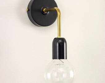 Wall sconce with black metal lamp holder cover and brass tube | wall light | wall lamp