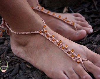 Crochet Tan Barefoot Sandals,Barefoot Baltic Amber Sandals, Wedding Foot Jewelry, Natural Yoga Anklet, Festival Jewelry,Summer Shoes