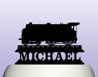 Personalised Acrylic Steam Engine Train Locomotive Cake Topper Ref 2
