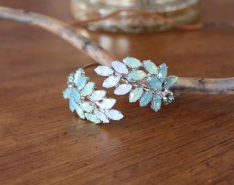 Green Opal Bracelet, Bridal bracelet, Bridal jewelry, Mint green, Cuff bracelet, White opal, Wedding bracelet, Wedding jewelry, Swarovski