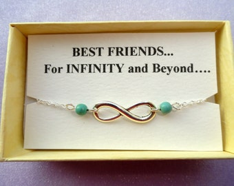 Friendship gift, Infinity bracelet, Silver infinity turquoise bracelet, Bridesmaids gifts, Silver bracelet, Infinity jewelry