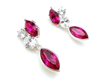 Wedding jewelry bridal earrings party prom gift christmas cluster cubic zirconia post fuchsia pink crystal rhinestone marquise drop earrings