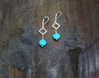 Turquoise Earrings, Turquoise Jewelry, Dangle Earrings, Drop Earrings, Silver Triangles, Turquoise Howlite, Howlite Earrings, Nickel Free