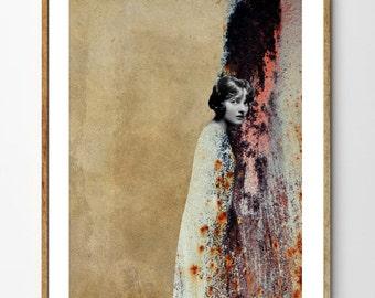 Melancholia - Mixed Media Collage Art, Portrait Painting, Vintage Art, Vintage Photograph, Vintage Women