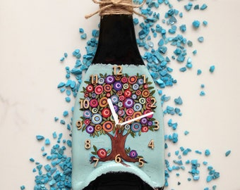 Wall Clock melted bottle champagne provence home decor fused glass art fusing hand painted kitchen shabby chic housewarming tree abundance