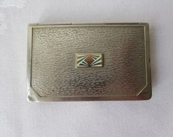 ART DECO Pill Box Handhammered nickle silver, enamel copper hinged box