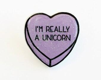 I'm Really A Unicorn - Anti Conversation Purple Glitter Heart Pin Brooch Badge