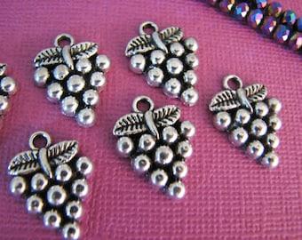 20 Grapes Design Tibetan Metal Alloy Antique Silver Charms  20mm Pendants Wine Merlot Jewelry