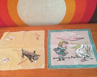 Vintage Pair of Handkercheifs, Burmel Original Scottie Dog Hankie and Girl with Pelican Handkerchief, Vintage Dog with Rhinestone Eyes