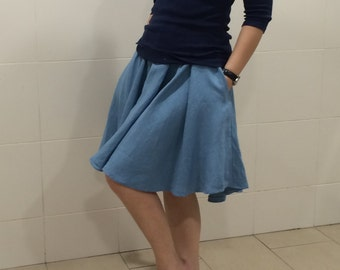 Circle Skirt - 100% Linen with 2 sides Pocket
