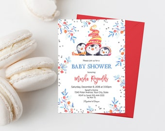 Winter Baby Shower Invitation Printable Penguin Baby Shower Invitation Penguin Invitation Gender Neutral Baby Shower Holiday Theme 308
