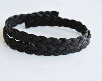 leather flat braided 9x2mm 43cm