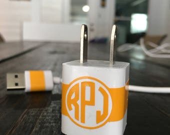 Monogrammed Solid Stripe Charger Adapter Vinyl Decal Wrap