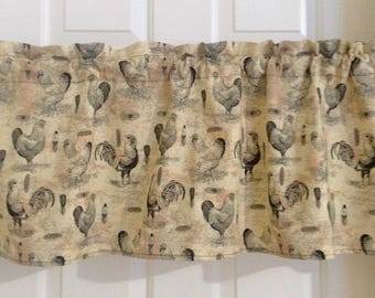 Rooster valances, country decor, country curtains, chicken decor, rooster decor, country kitchen valances, farm kitchen curtains,