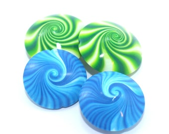 Artisan jewelry candy fashion accessory, swirls beads polymer clay lentil beads in greens-blue-white, unique pattern, set of 4 elegant beads