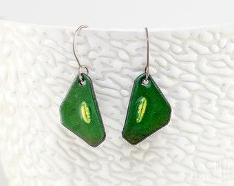 Irregular enamelled earrings - green with yellow element, enamel on copper. Green earrings. Enamel earrings. Enameled jewelry Small earrings