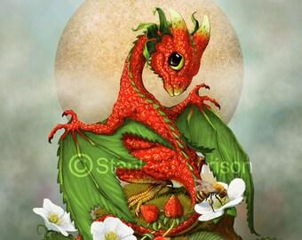 STRAWBERRY DRAGON Print 4x6, 8.5x11, or 11x14, dragon art, dragon poster, kitchen décor, kids room décor, food dragon