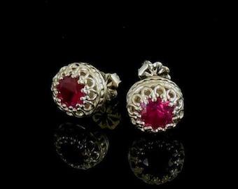 Ruby Earrings - Sterling Silver