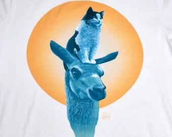 Cat Sitting on Llama - Scandinavian summer t-shirt by London artist Robert Clear