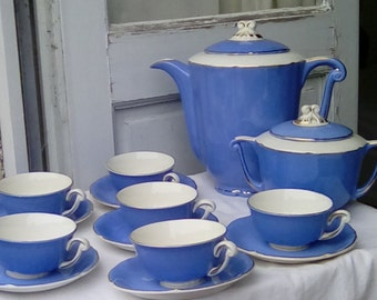 French vintage coffee set, semi-porcelain, blue and gold.