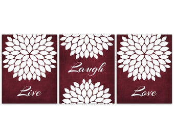 Live Laugh Love Wall Art Prints Or CANVAS, Burgundy Home Decor, Bathroom  Wall Decor, Living Room Decor, Set Of 3 Bedroom Wall Art   HOME358