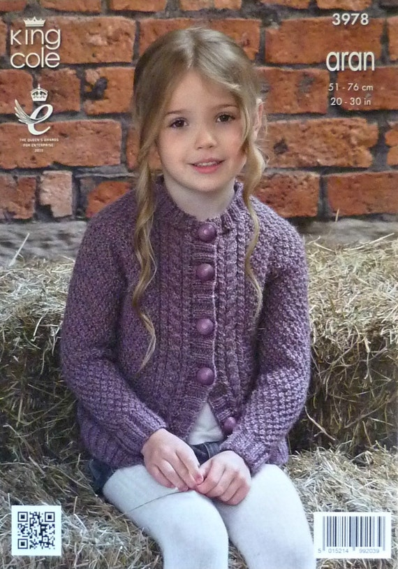 Girls Knitting Pattern K3978 Childrens Long Sleeve Round Neck Cable