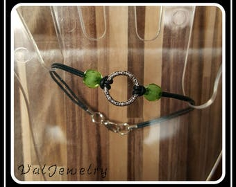 Codon, ring and faceted green Bead Bracelet