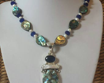 Natural Sapphire and Abalone Shell necklace