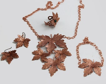 Handmade Old Rose Ox, Antique Copper Maple Leaves 4 Piece Set Autumn Leaves Necklace,Earrings, Ring and Bracelet
