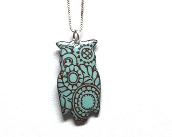 """Enameled Owl Pendant with Art Deco Pattern on 16"""" Sterling Silver chain."""