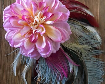 Dahlia Flower and Feather Fascinator