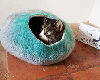 Cat Bed Cave Cocoon House grey green with Free Cat Ball - larger size