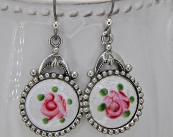 Handmade  Earrings on Niobium Hooks Silver Pewter With Rare Dresden Enamel  Hand Painted Pink Flowers over White Assembled  by Oscarcrow