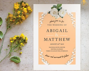 Peach Floral Wedding Invitation; Easy to edit instant download pdf